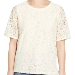 Madewell Lace Refined Short Sleeve Tee Ivory XL